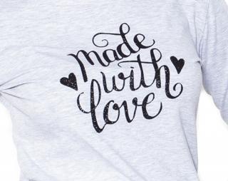 96f0fb248835 Moromu tehotenské tričko s potlačou Made with love sivé empty