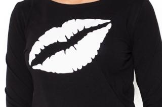 ced2b3080d9f Moromu tehotenské tričko s potlačou Ústa čierne empty