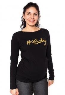 9ee8fe7c4f21 Moromu tehotenské tričko s potlačou BABY čierne empty