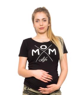07631998da03 Moromu tehotenské tričko s potlačou MOM LIFE čierne empty