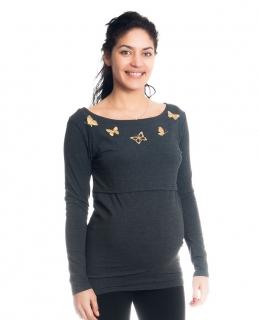 20b4b3f7229b Moromu tehotenské tričko na dojčenie Motýle tmavošedé empty