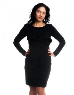 Moromu tehotenské šaty na dojčenie VOLÁNIK čierne empty 43fb278c5ec