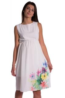Tehotenské šaty šifónové krémové empty 8354de0de7c