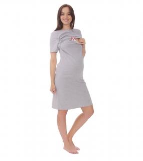 3e308016688c Bensini tehotenská nočná košeľa na dojčenie ELEN sivá S M empty